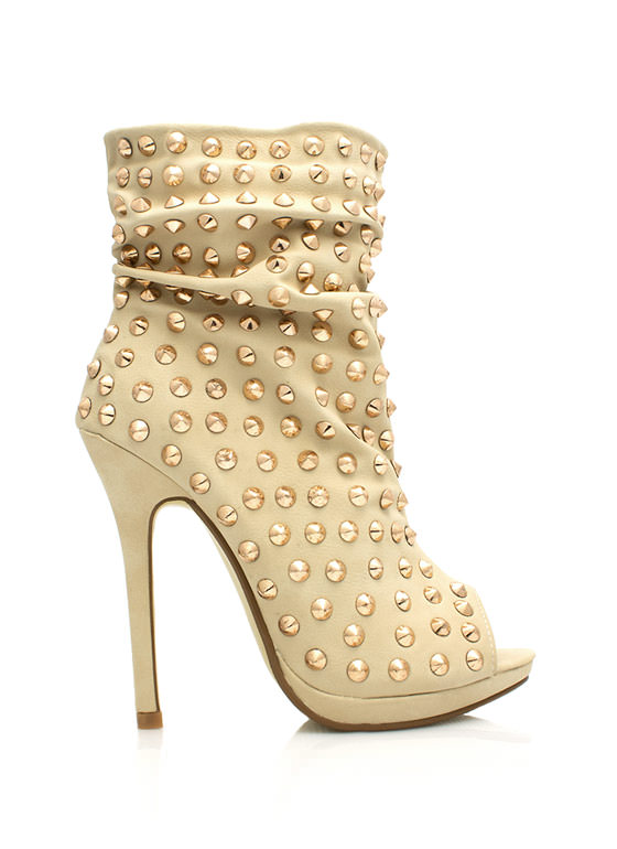 Everything Is Better Spiked Booties BEIGE