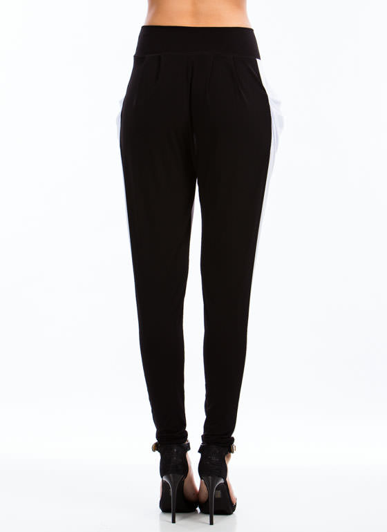 Two Tone Harem Pants BLACKWHITE