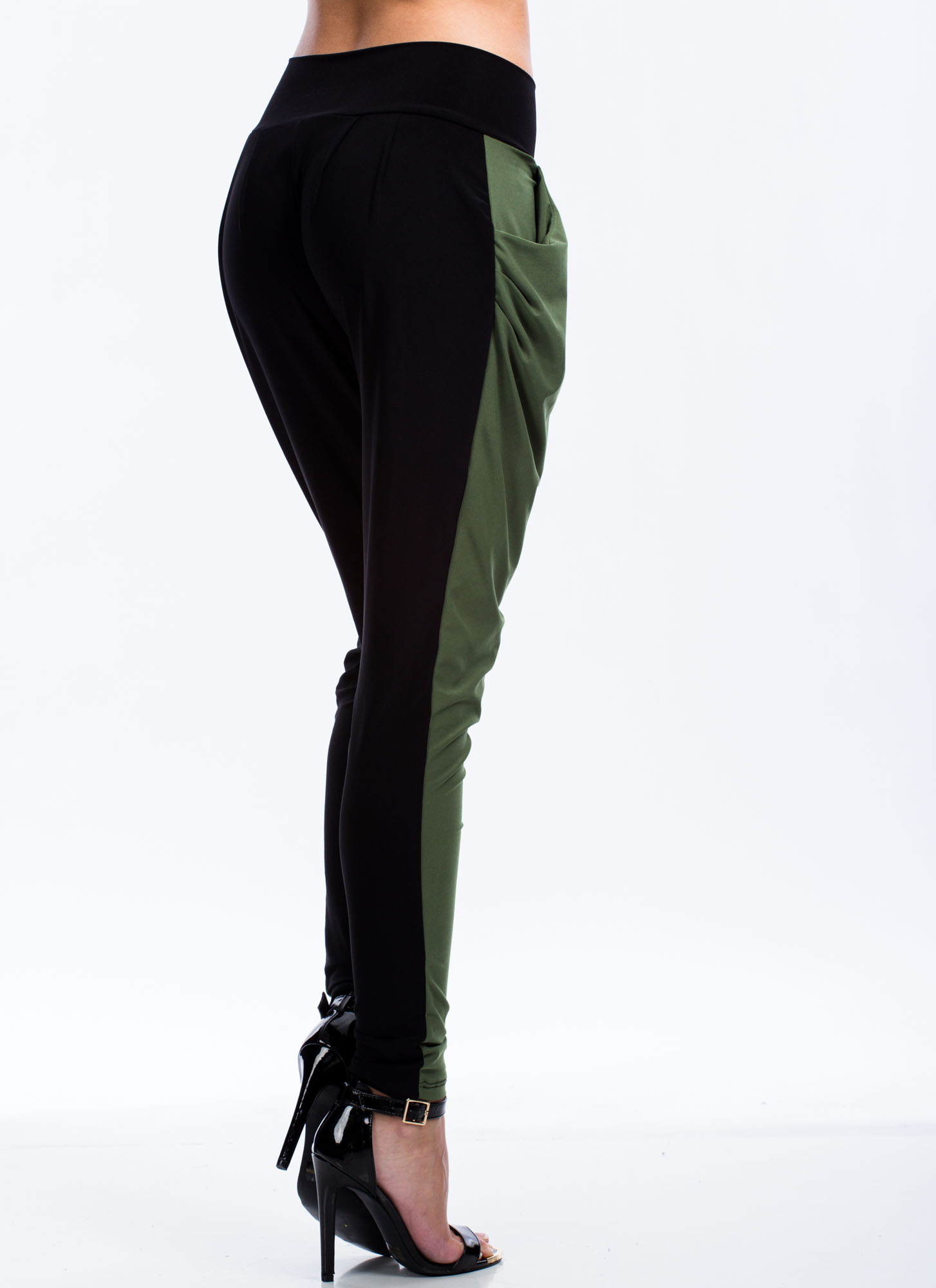 Two Tone Harem Pants OLIVEBLACK