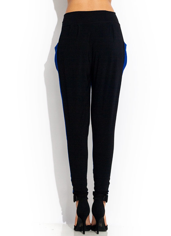 Two Tone Harem Pants ROYALBLACK