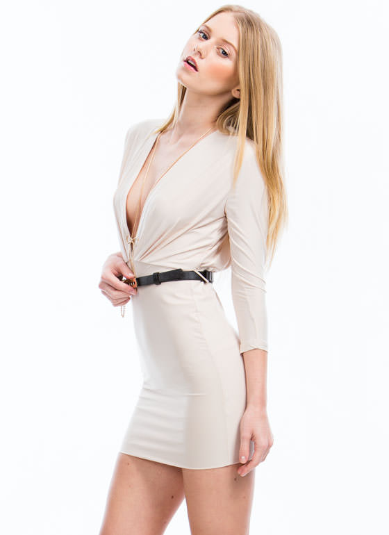 Take The Plunge Belted Mini Dress NUDE