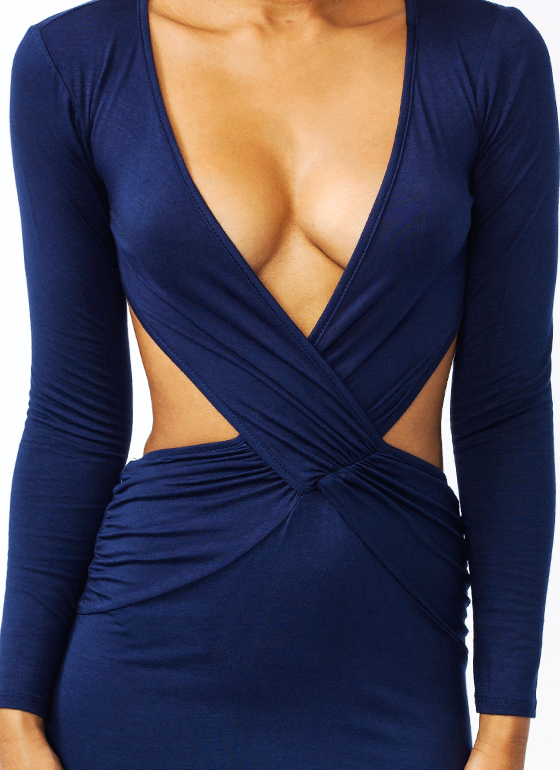 Crisscross Midi Dress NAVY