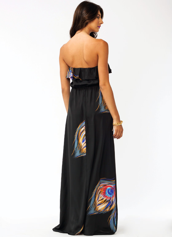 Peacock Strut Ruffle Maxi Dress BLACK