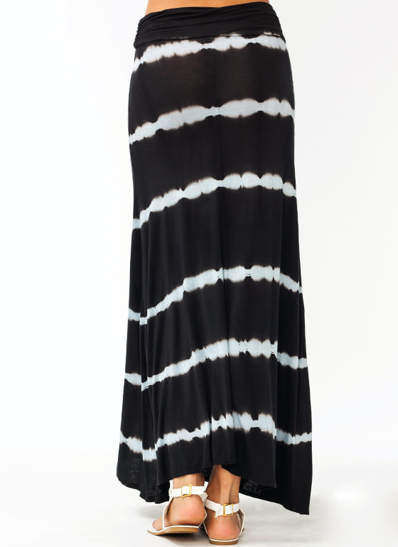 Line Up Tie Dye Maxi Skirt BLACK