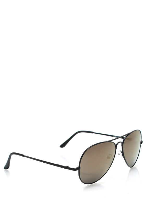 Color Craze Aviator Sunglasses BLACKBRONZE