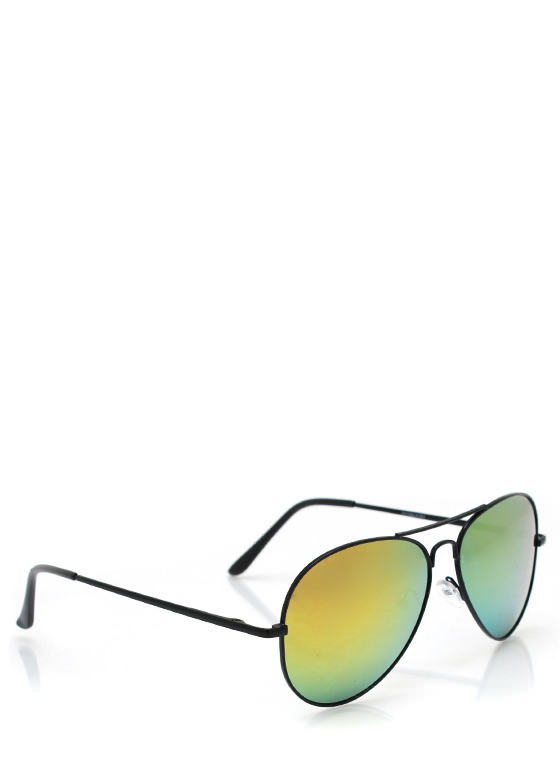 Color Craze Aviator Sunglasses BLACKLIME