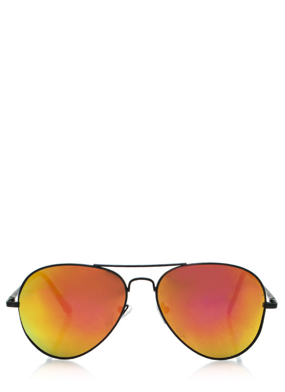 Color Craze Aviator Sunglasses BLACKORANGE