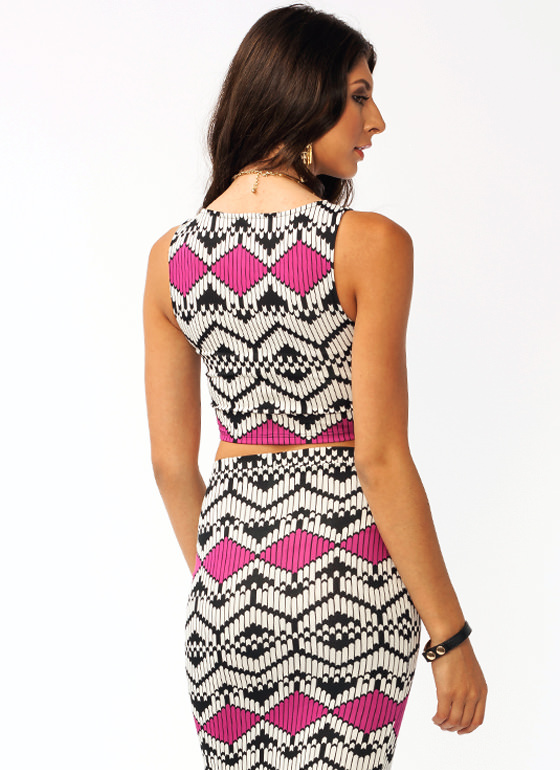 Chevron Cropped Top FUCHSIA
