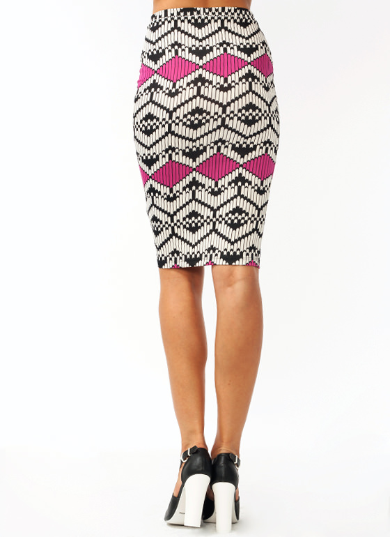 Chevron Pencil Skirt FUCHSIA