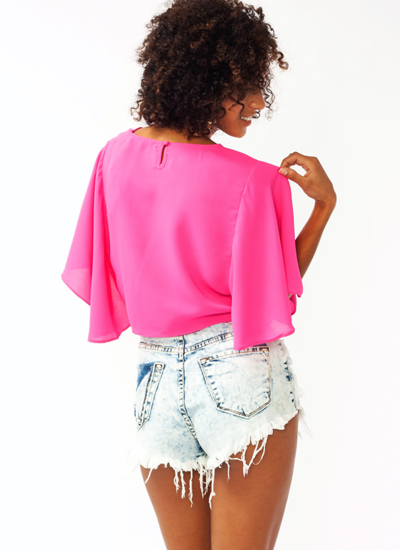 Flutter Sleeve Cropped Top PINK