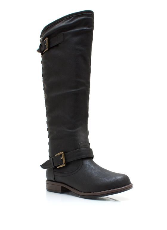 Metal Stud Muffin Riding Boots BLACK