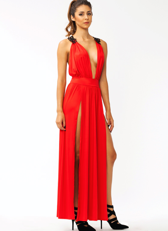 Hey Crochet Slit Maxi Dress RED