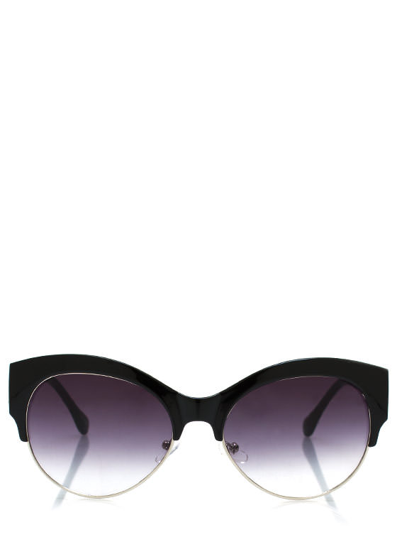 Cool Cat Cat Eye Sunglasses BLACKSILVER
