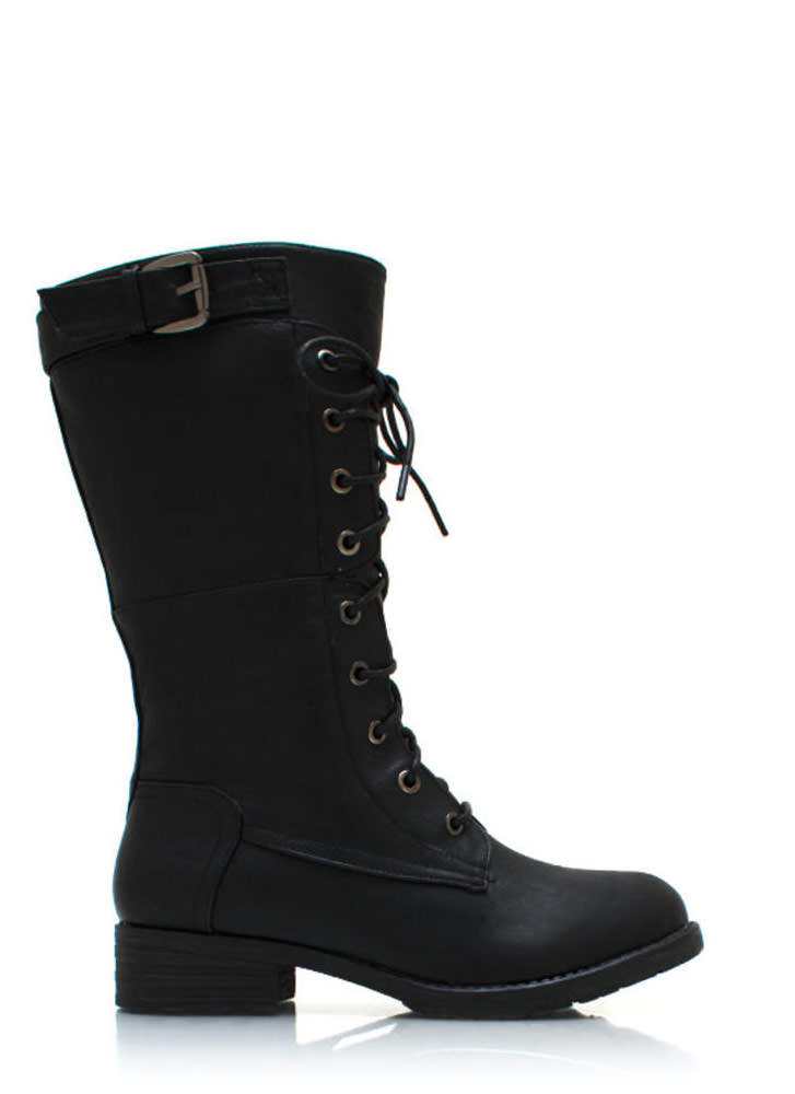 Buckle Down Combat Boots BLACK
