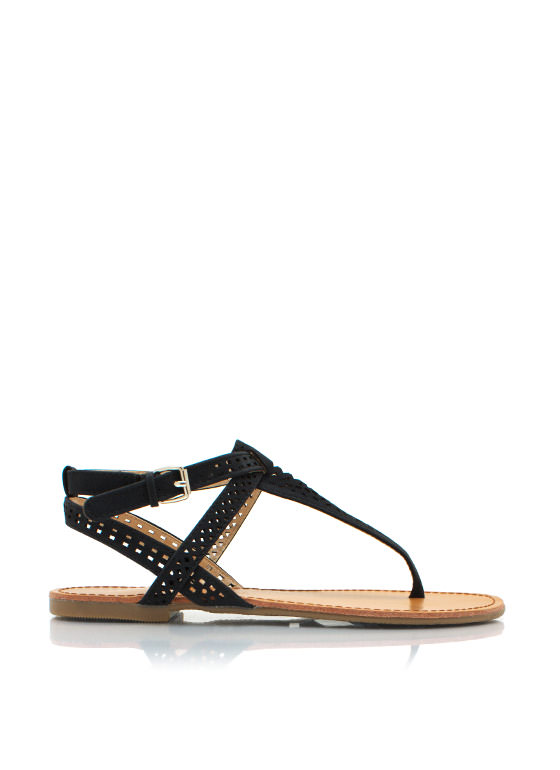 Shape Up Perforated Sandals BLACK