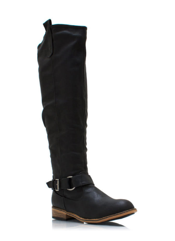 Ride Hard Faux Leather Boots BLACK