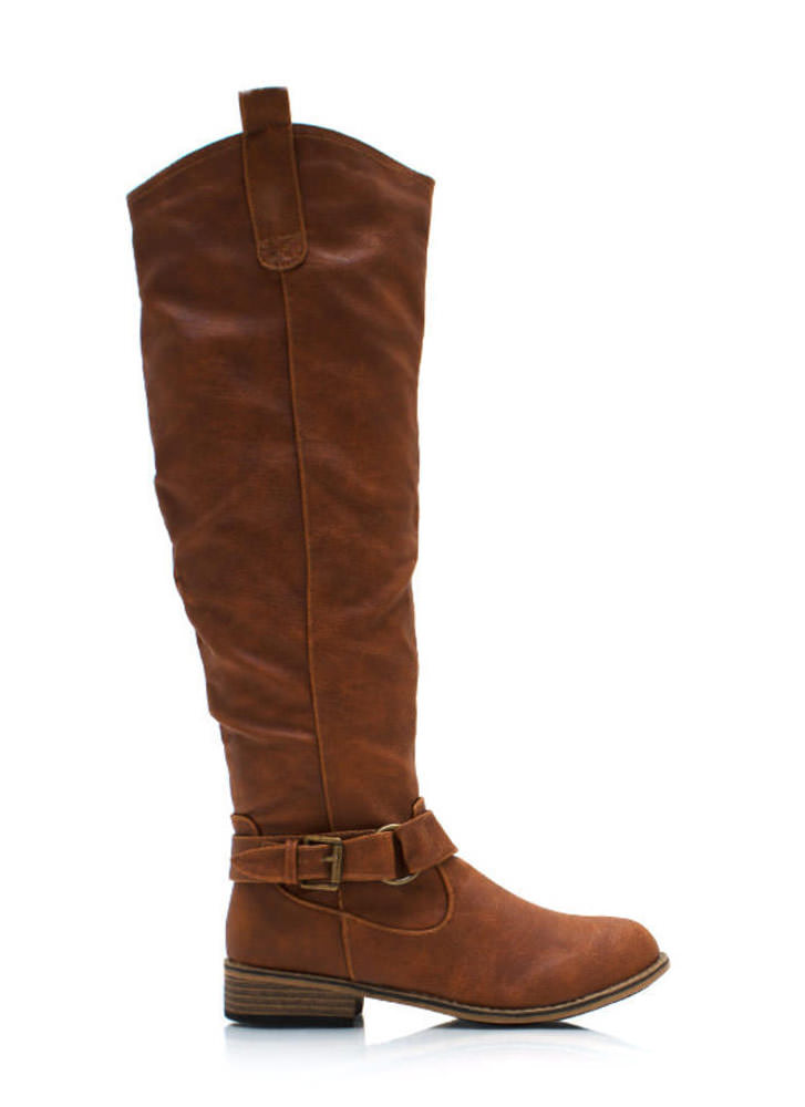 Ride Hard Faux Leather Boots CHESTNUT