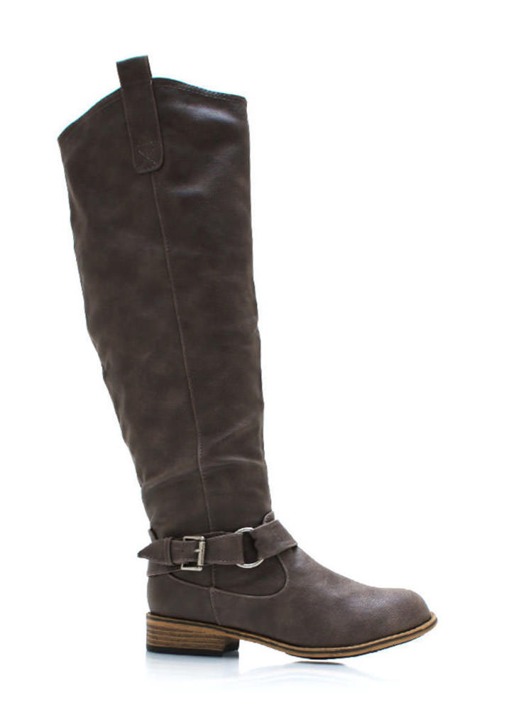 Ride Hard Faux Leather Boots TAUPE