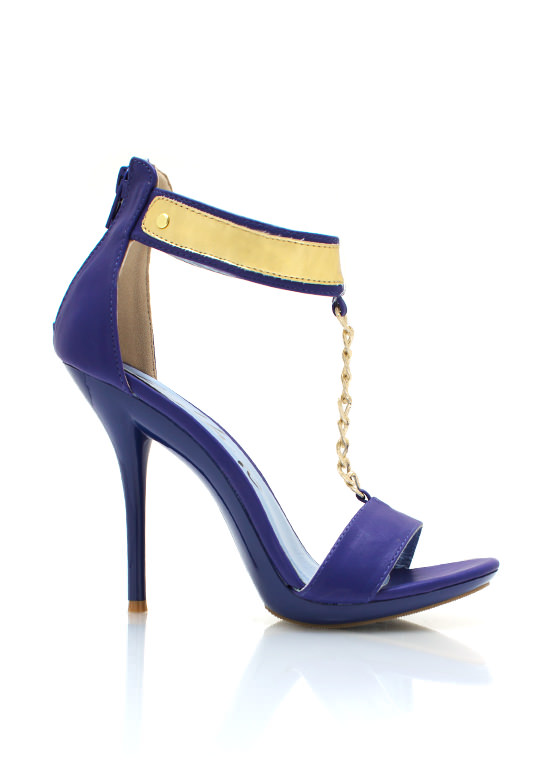 Faux Leather T Strap Heels BLUE