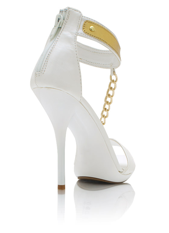 Faux Leather T Strap Heels WHITE