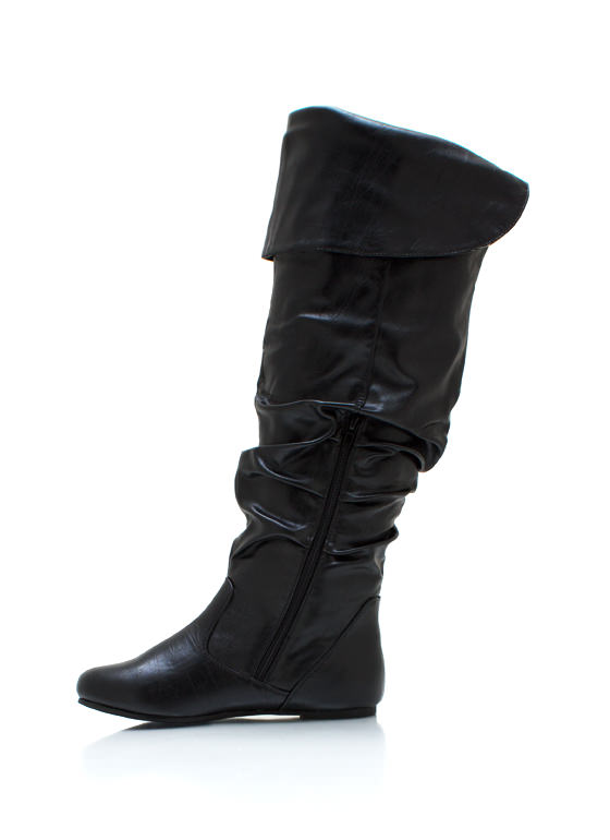 Slouchy Faux Leather Boots BLACK