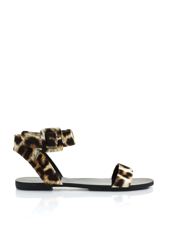 Big Buckled Leopard Sandals LEOPARD