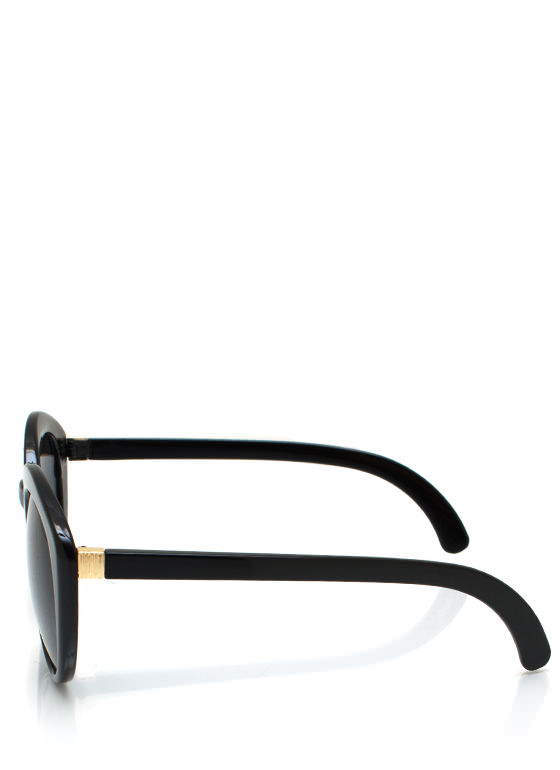 Top Heavy Flare Frame Sunglasses BLACK