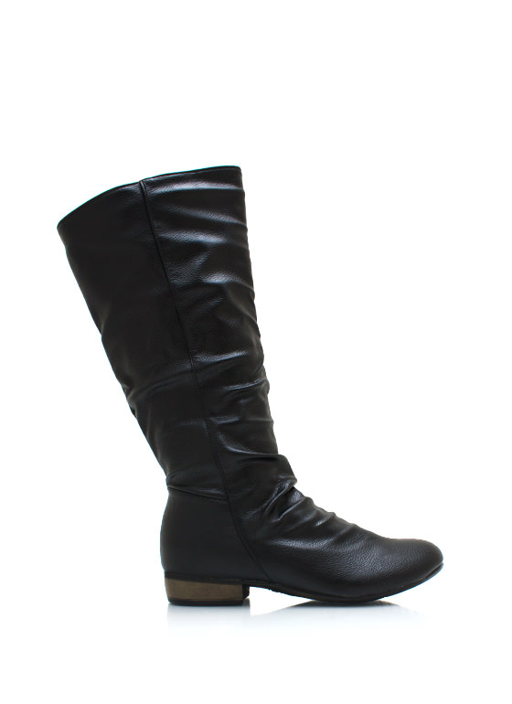Slouchy Pebbled Faux Leather Boots BLACK