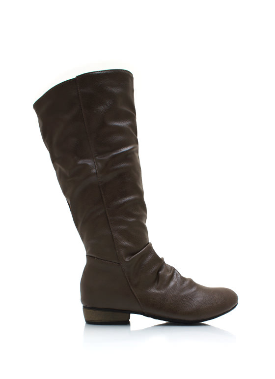 Slouchy Pebbled Faux Leather Boots TAUPE