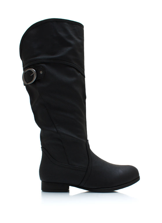 Buckling Down Faux Leather Boots BLACK