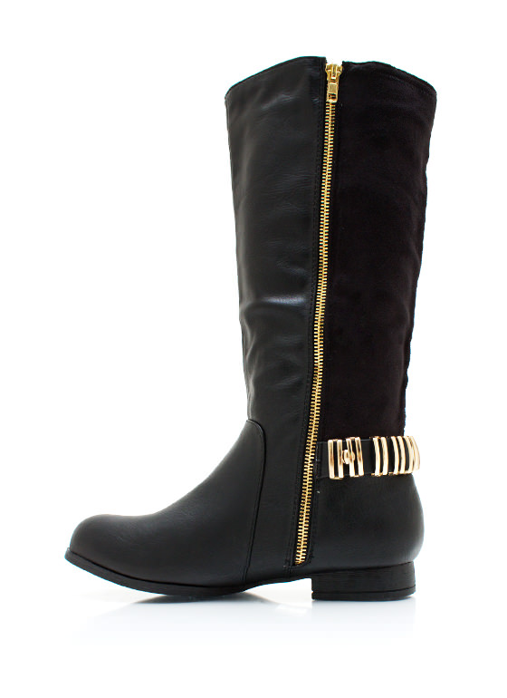 Zipping Around Contrast Boots BLACK