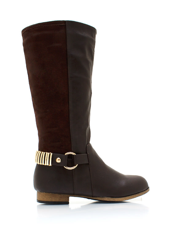 Zipping Around Contrast Boots BROWN