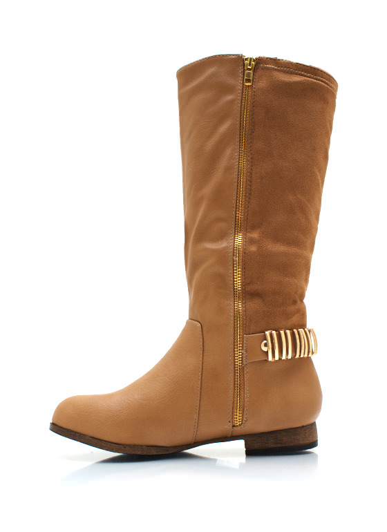 Zipping Around Contrast Boots CAMEL