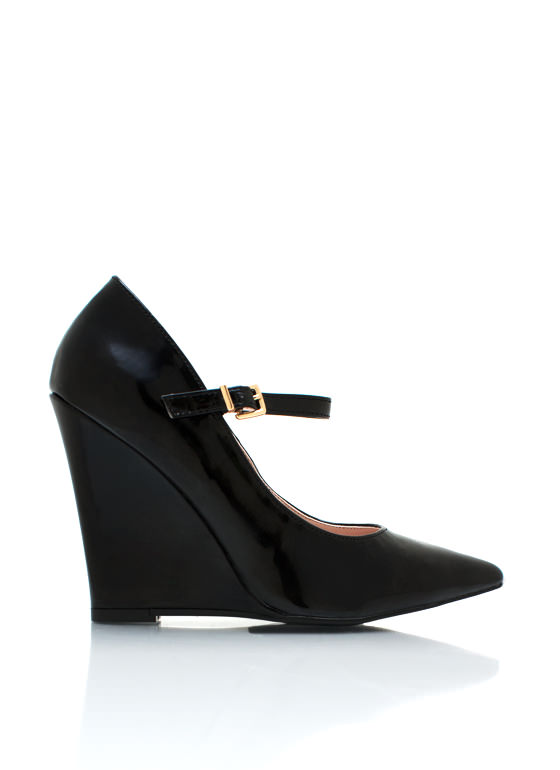 Pointy Mary Jane Wedges BLACK