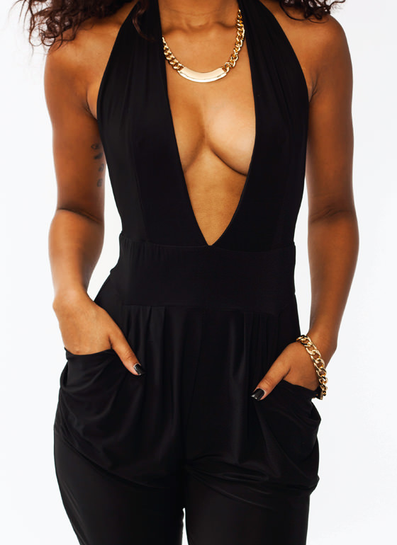 Hot Halter Harem Jumpsuit BLACK
