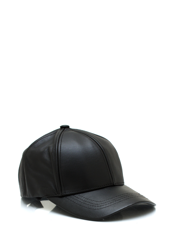 Leather Lady Baseball Cap BLACK