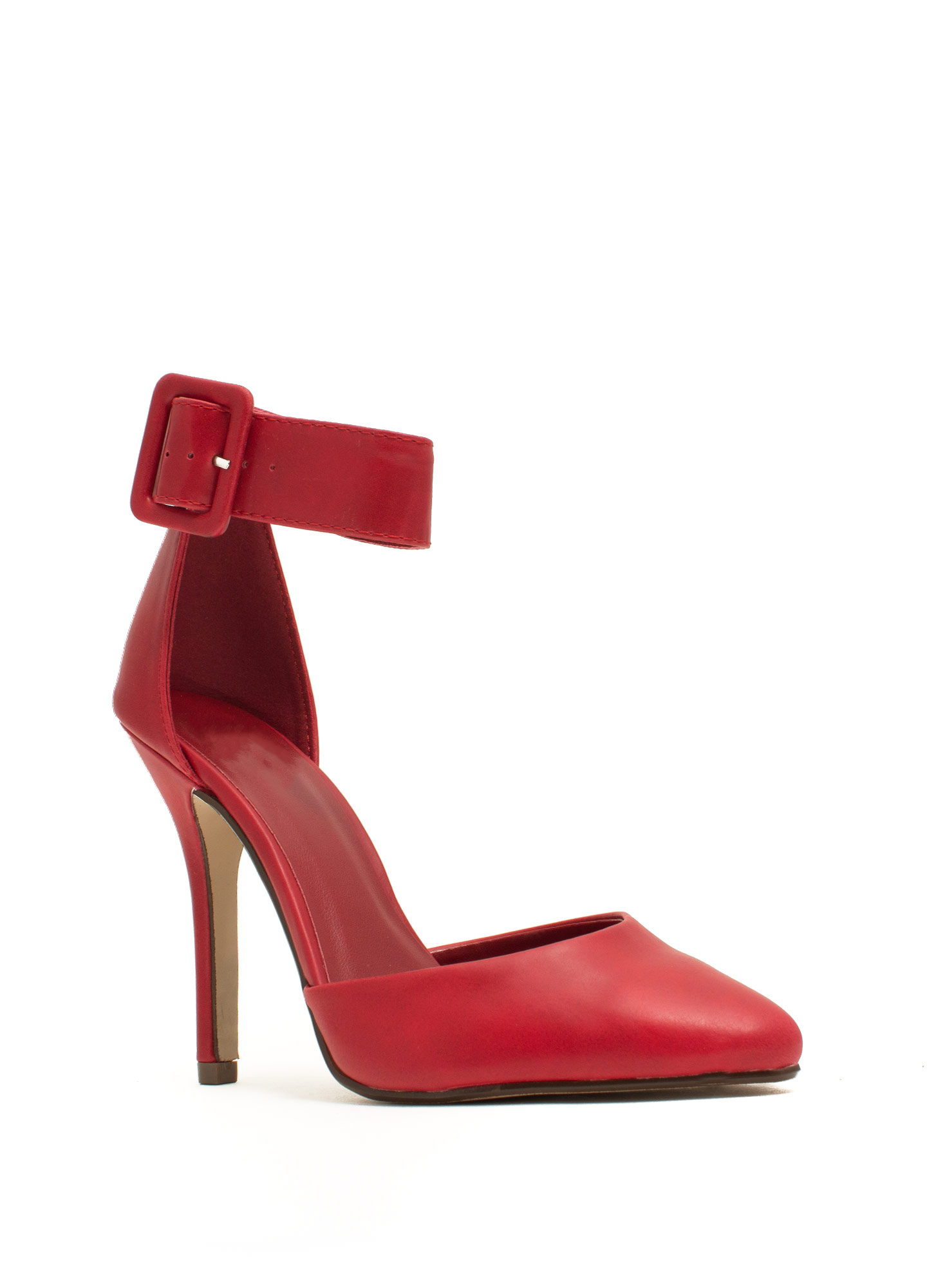 Point The Way Faux Leather Pumps RED