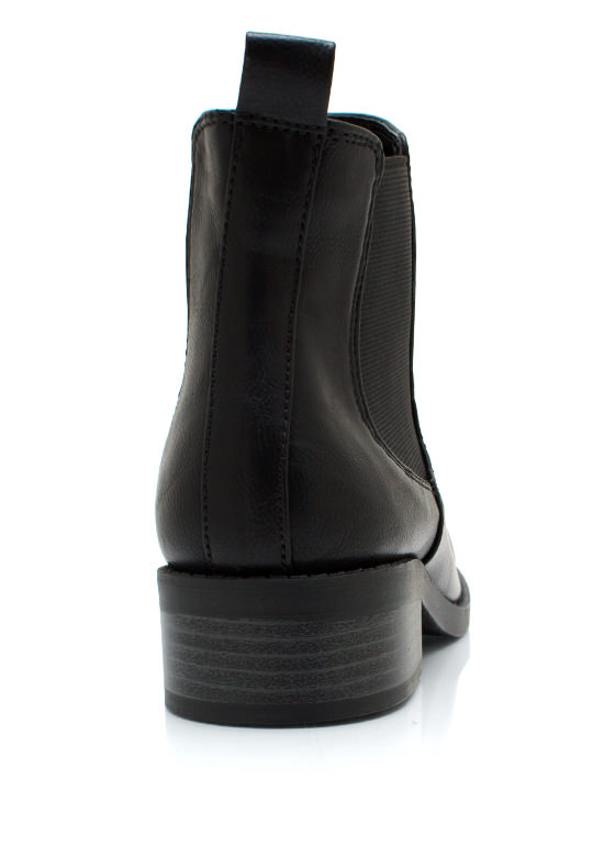 Faux Leather Chelsea Boots BLACK