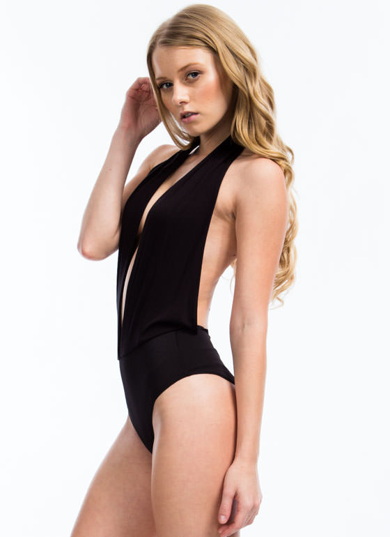 Come To The Halter Bodysuit BLACK