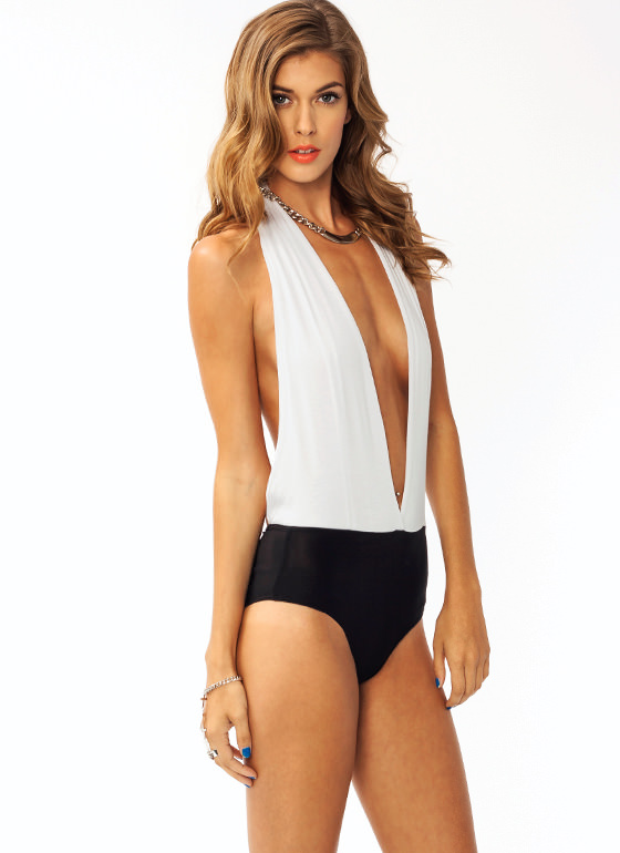 Come To The Halter Bodysuit WHITE