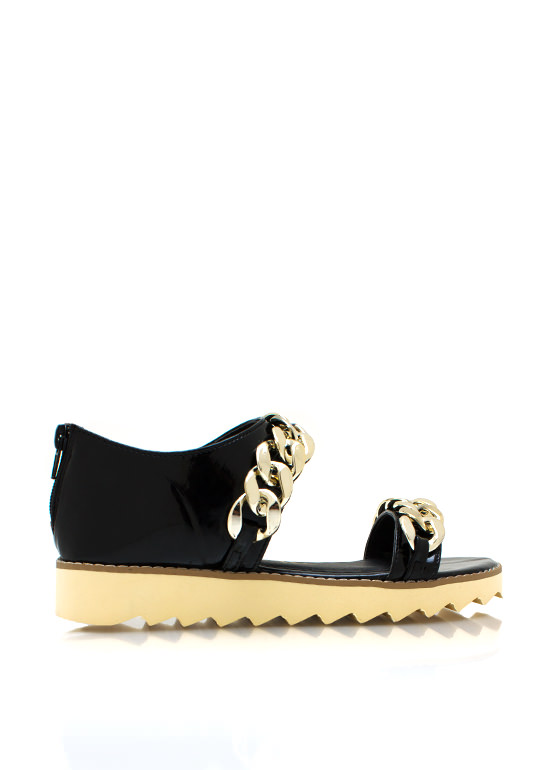 2 Chains Jagged Sandals BLACK