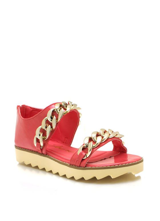 2 Chains Jagged Sandals CORAL