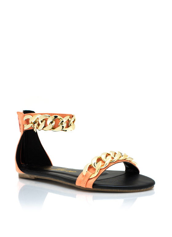 Chunky Chain Ankle Strap Sandals CORAL