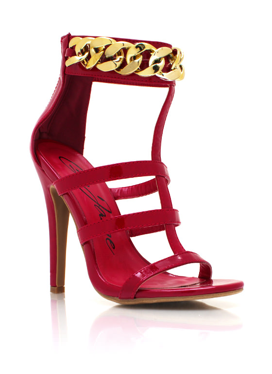 Chunky Chain Strappy Heels RED