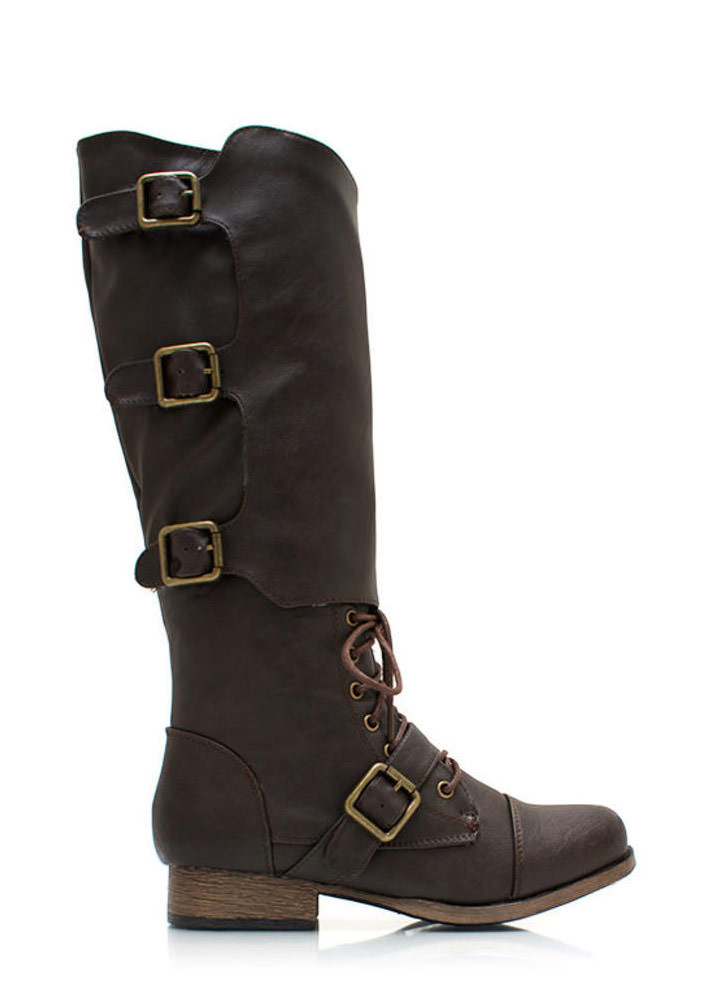 Buckled Up Faux Leather Boots BROWN
