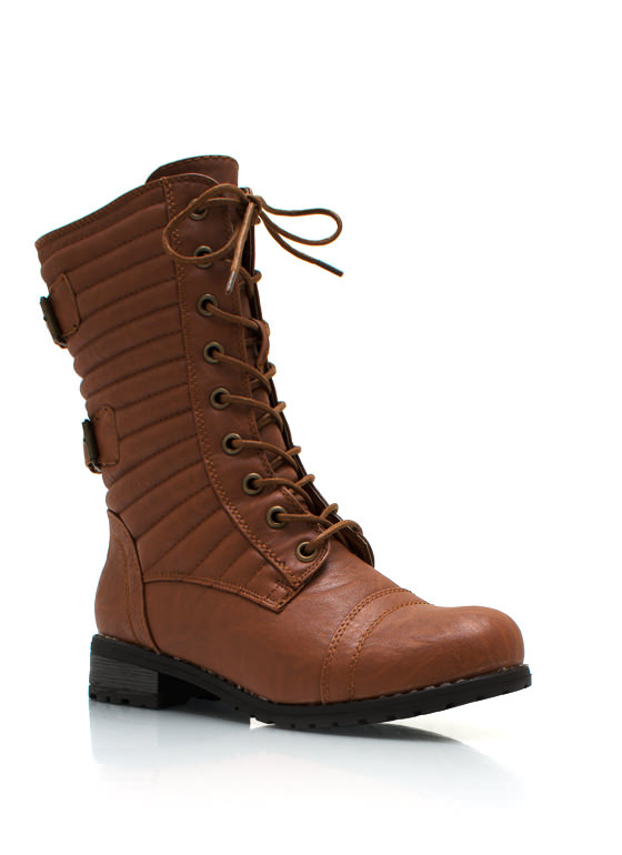 Double Trouble Buckled Combat Boots WHISKY