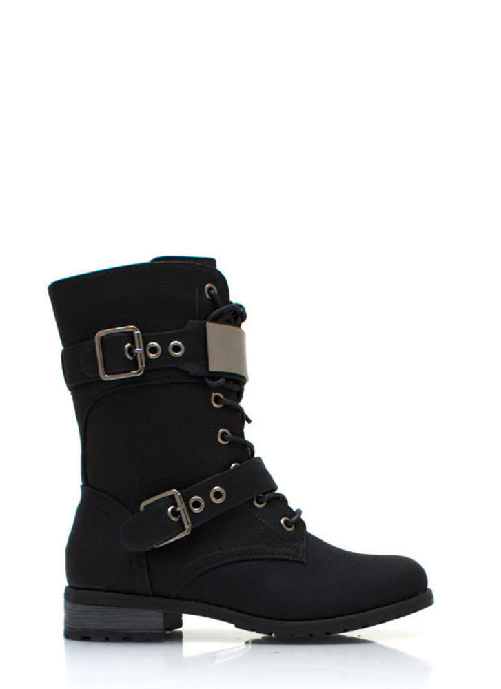 Do Not Metal With Me Combat Boots BLACK