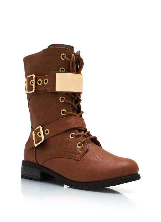 Do Not Metal With Me Textured Combat Boots COGNAC