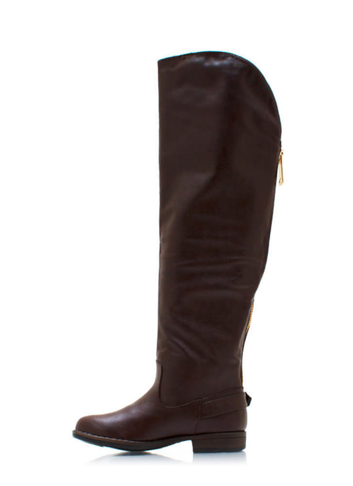 Buckle Back Riding Boots BROWN
