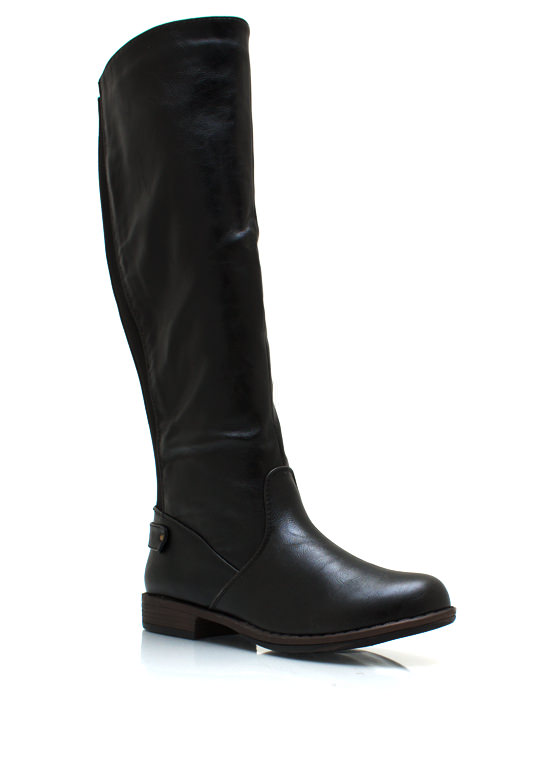 Elastic Back Riding Boots BLACK